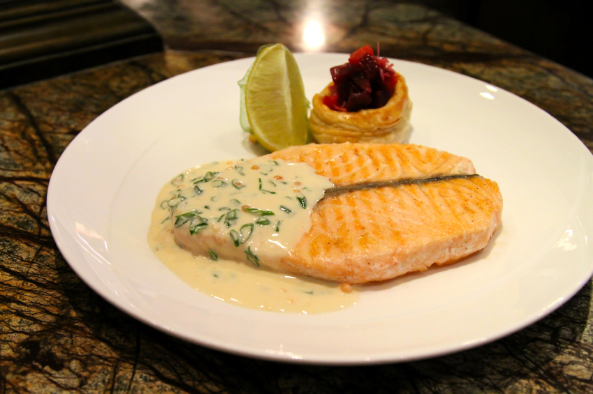 salmon with beurre banc