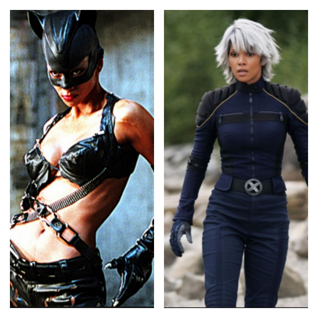This is a side by side Halle Berry as Catwoman and Storm.