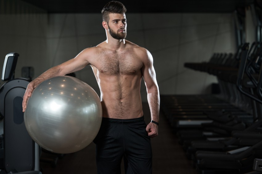 man with stability ball, exercise ball, gym
