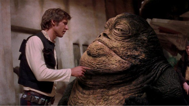 Harrison Ford and Jabba the Hutt in Star Wars: A New Hope