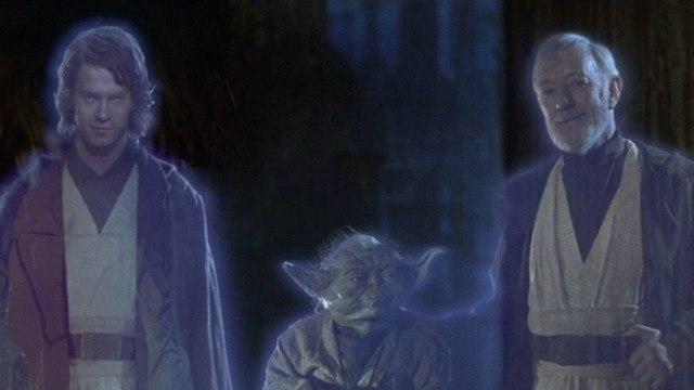 Hayden Christensen, Yoda, and Alec Guinness in Star Wars: Return of the Jedi