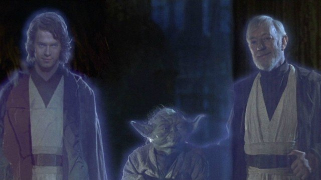 Hayden Christensen, Yoda and Alec Guinness in 'Star Wars: Return of the Jedi'