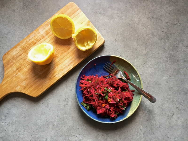 root vegetable slaw with citrus
