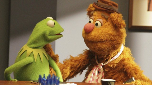 Kermit and Fozzie in 'The Muppets'