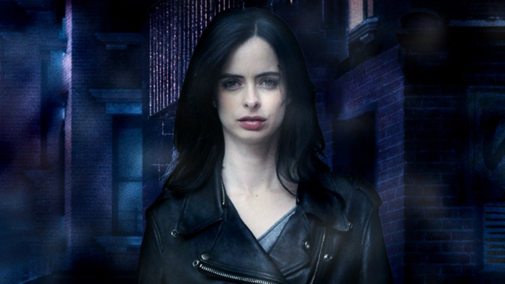 Krysten Ritter as Jessica Jones, wearing a black leather jacket and against a purple background