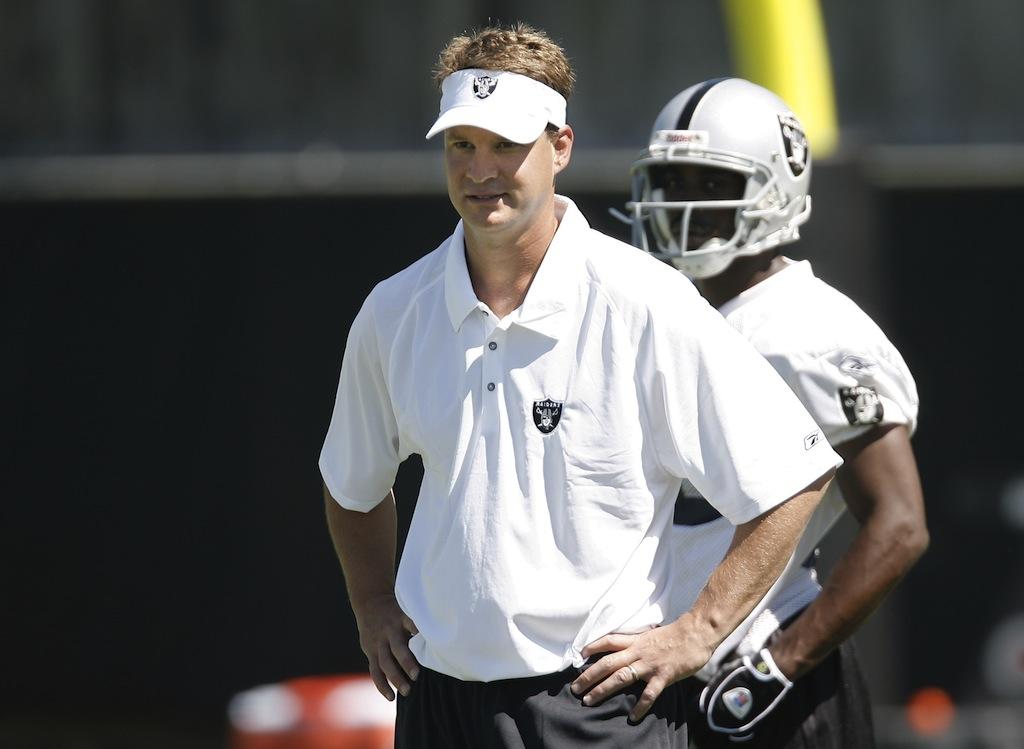Lane Kiffin looks on during Raiders training camp