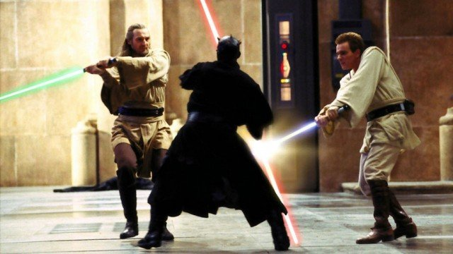 Darth Maul fights Obi-Wan and Qui-Gon in Star Wars: Episode 1 The Phantom Menace