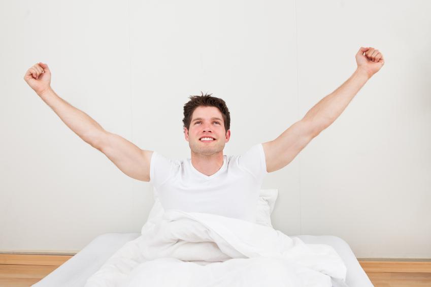 waking up, stretching