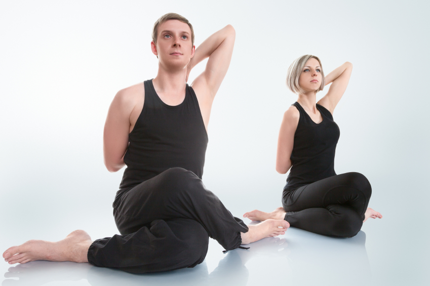 cow face pose, yoga