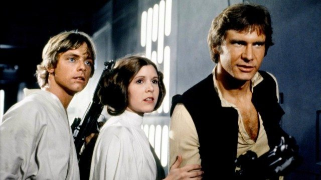 Mark Hamill, Carrie Fisher, and Harrison Ford in Star Wars: Episode IV: A New Hope