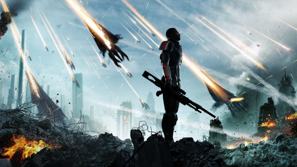 A soldier takes a moment to himself in Mass Effect