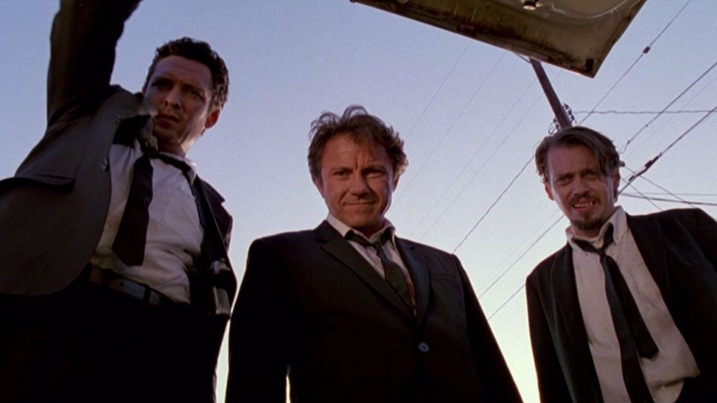 Michael Madsen, Harvey Keitel, and Steve Buscemi in Reservoir Dogs