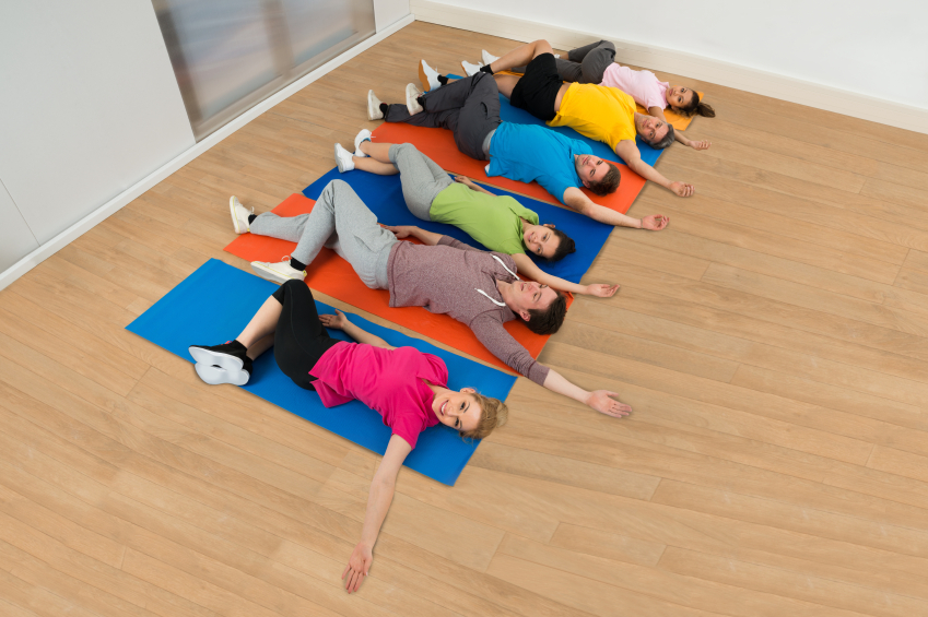 yoga group, spinal twist