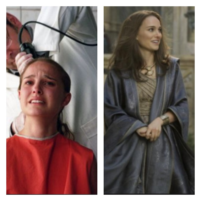 This is a side by side photo of Natalie Portman as Evey and Jane Foster.