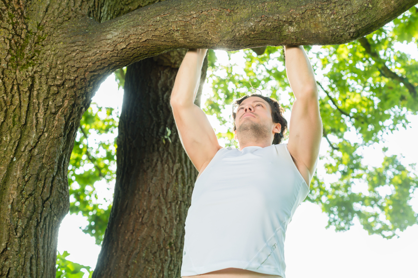 man doing pull-ups on a tree at the park