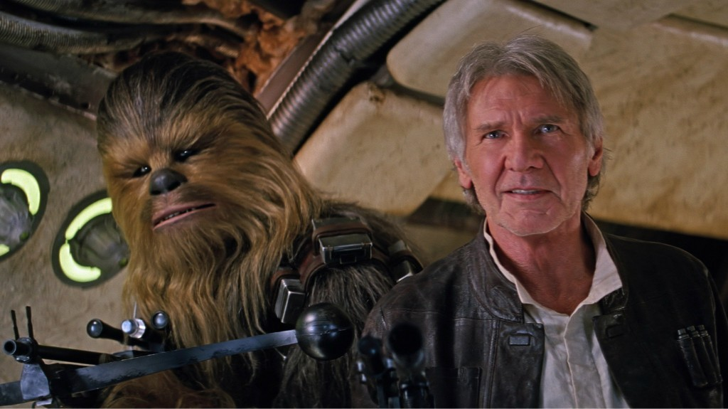 Peter Mayhew and Harrison Ford in 'Star Wars: The Force Awakens'