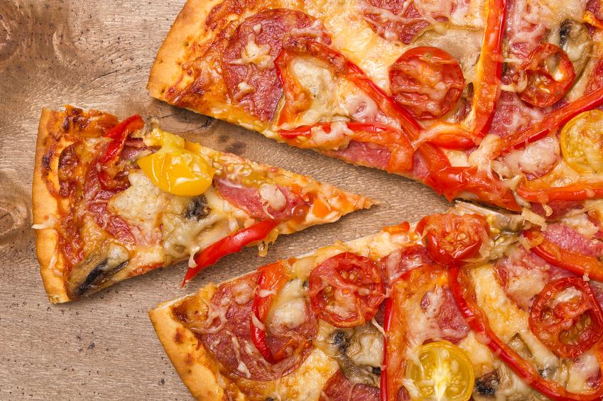 salami and tomato pizza