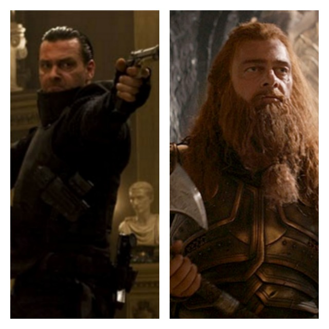 This is a side by side photo of Ray Stevenson in Punisher in a black suit and holding a gun and him as Volstagg.