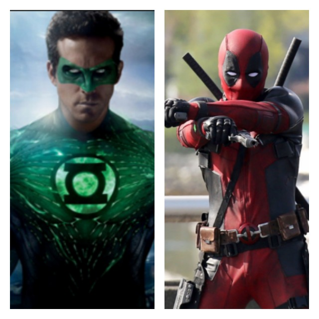 This is a side by side of Ryan Reynolds as Green Latern and Deadpool.