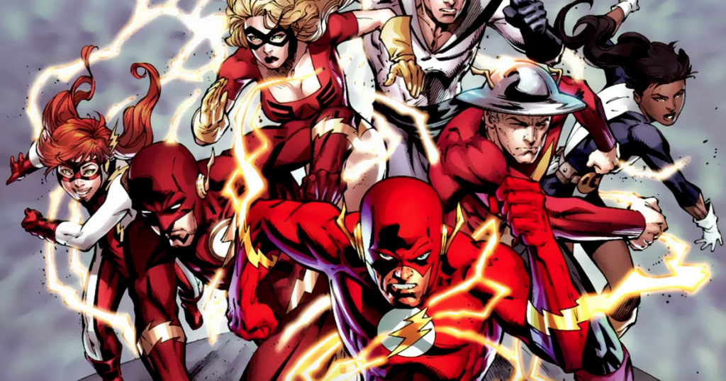 All the various iterations of the comic book Flash, running toward the camera at full speed