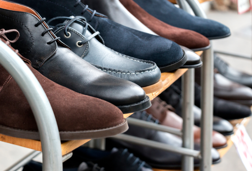 shoes on a rack
