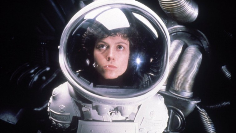 Sigourney Weaver's Ripley dons a space suit in 'Alien'