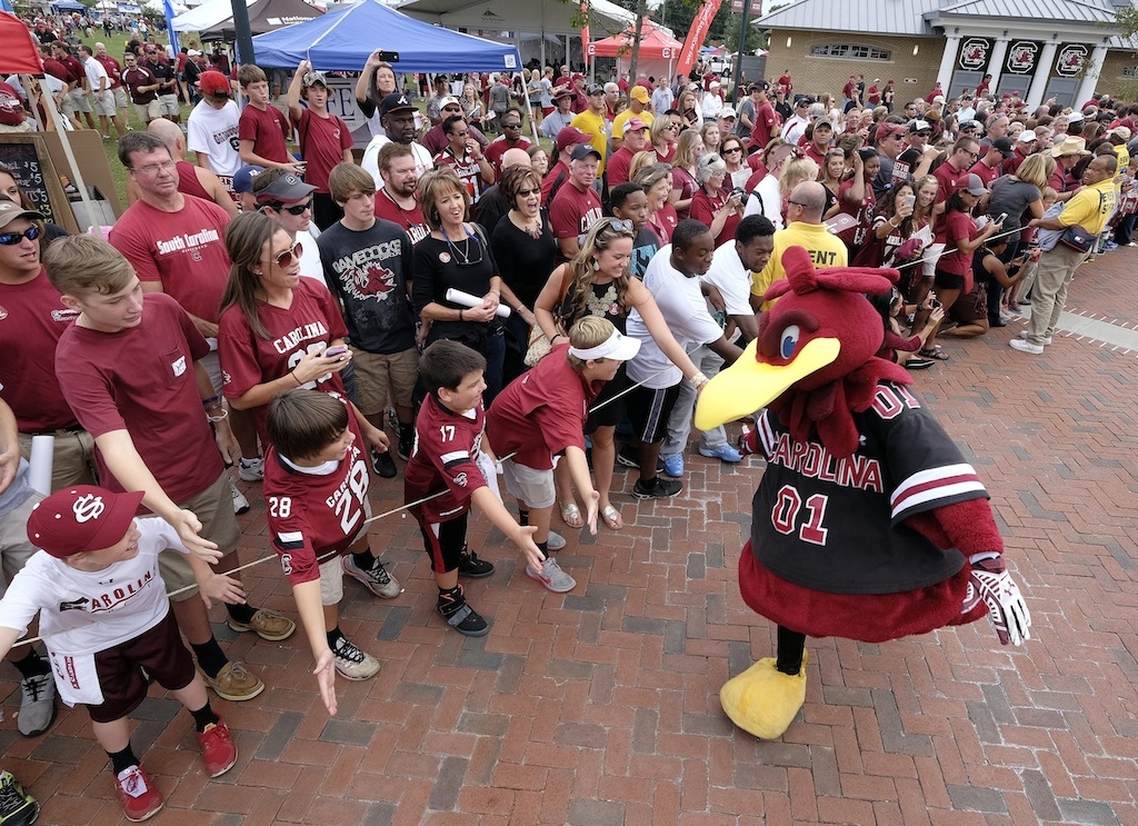 South Carolina fans and mascot