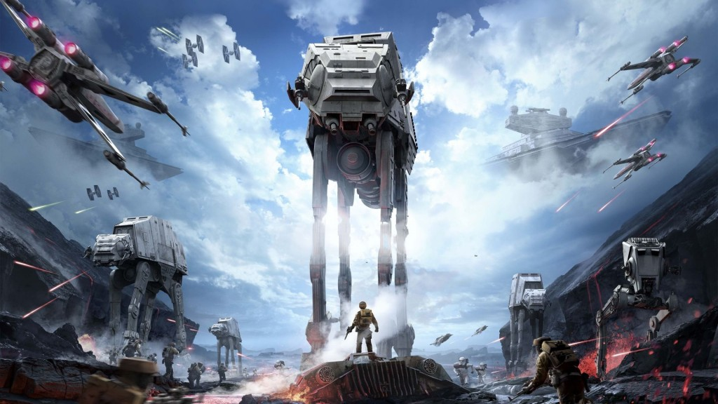 A towering AT-AT stalks through the ice planet Hoth.