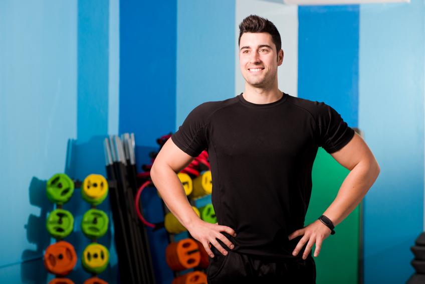 man at gym, weights