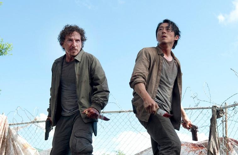 Nicholas (Michael Traynor) and Glenn (Steven Yeun) in a scene from 'The Walking Dead''s sixth season.