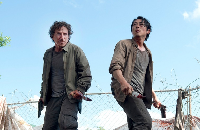 Nicholas (Michael Traynor) and Glenn (Steven Yeun) in a scene from 'The Walking Dead''s sixth season.