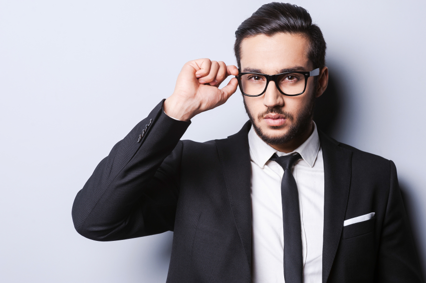 fashionable man with eyeglasses