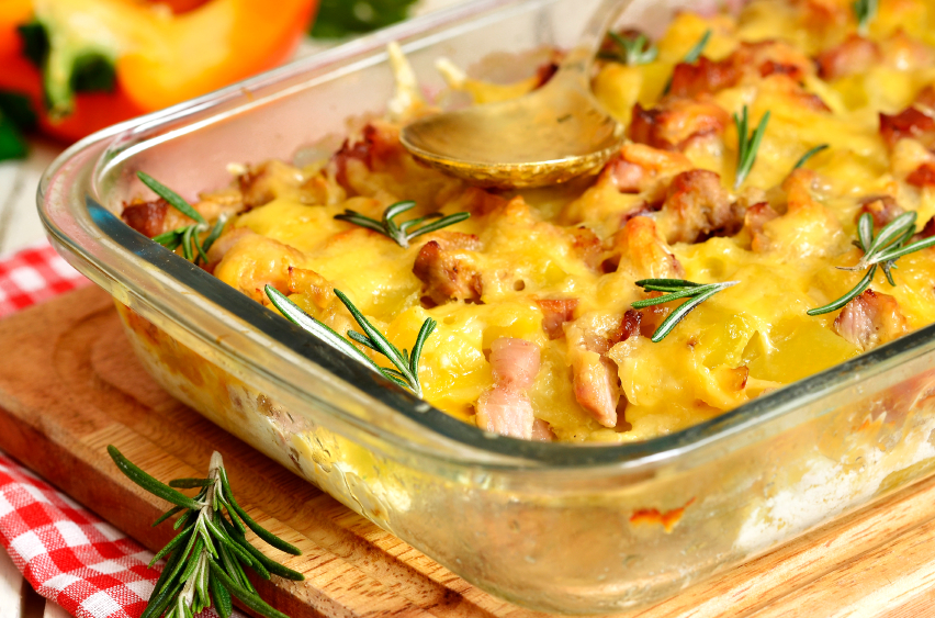 casserole with bacon and cheese