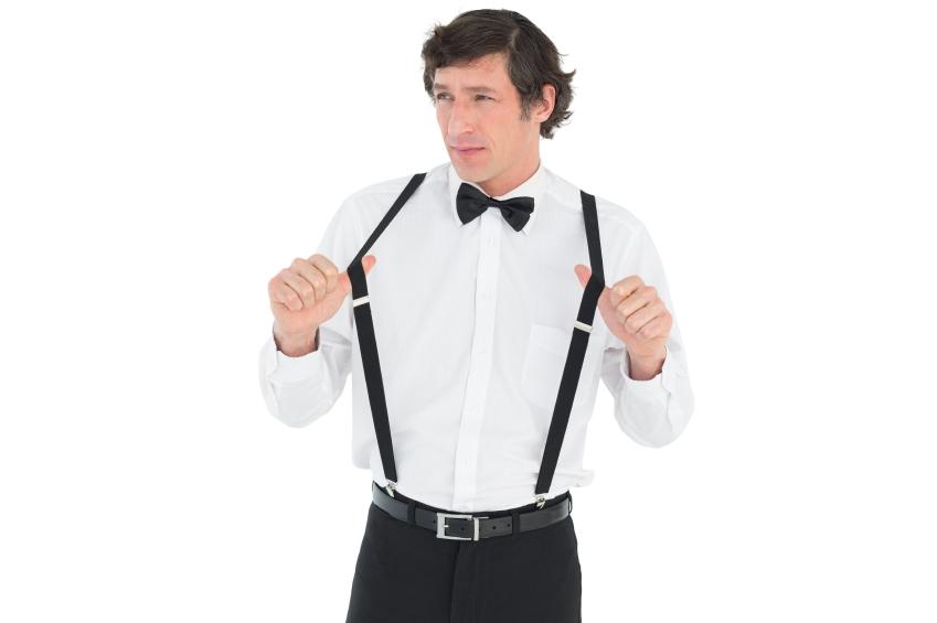 a man wearing suspenders
