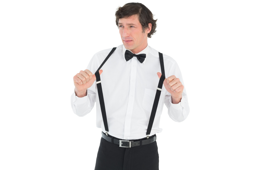 a man wearing suspenders
