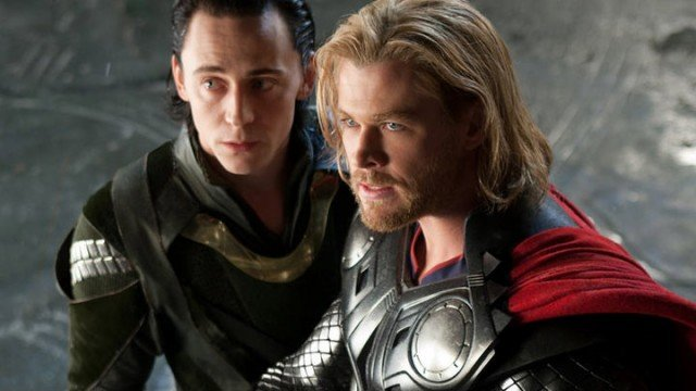Tom Hiddleston and Chris Hemsworth in 'Thor'