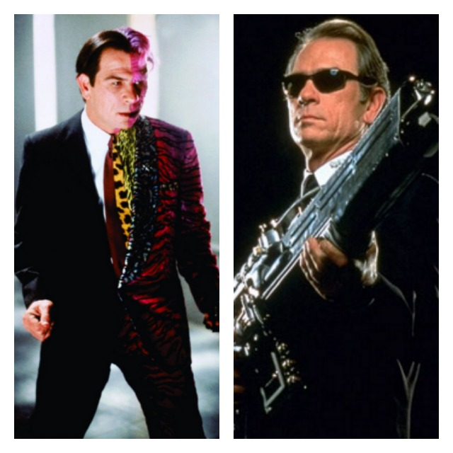 This is a side by side photo of Tommy Lee Jones as Two Face and in a black suit, black glasses, and holding a gun for Men in Black.