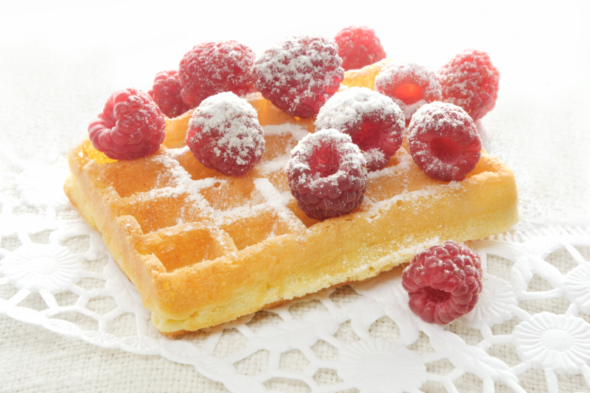 waffle with raspberry