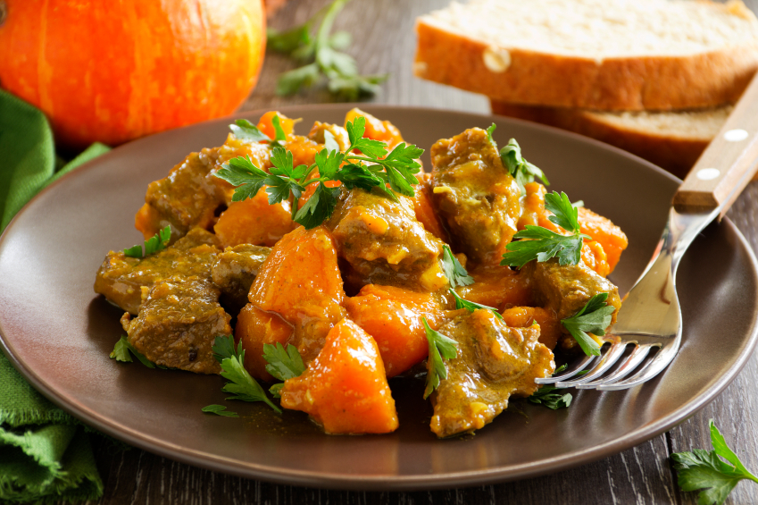 curry, stew, pumpkin, pork