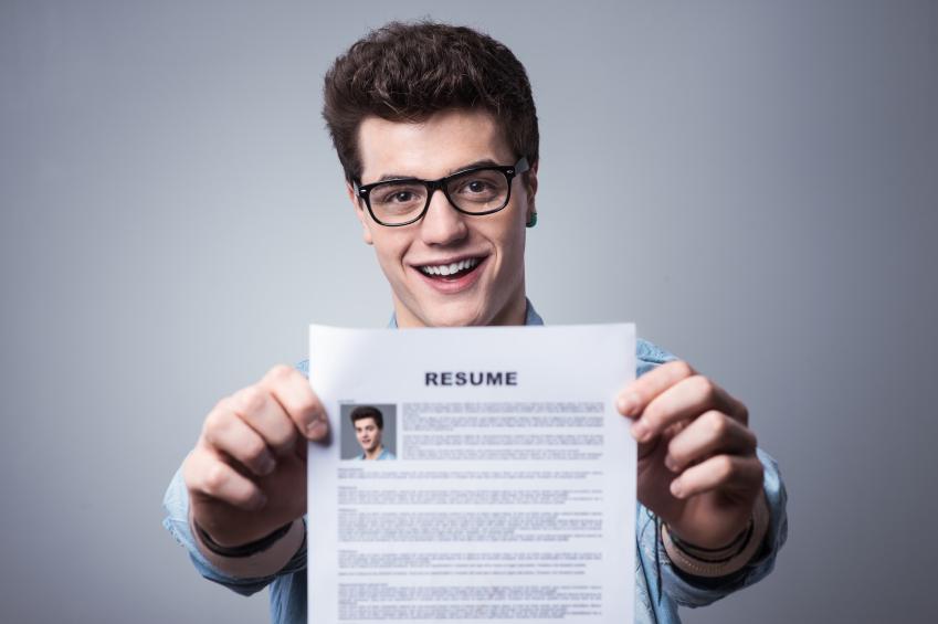 man holding resume