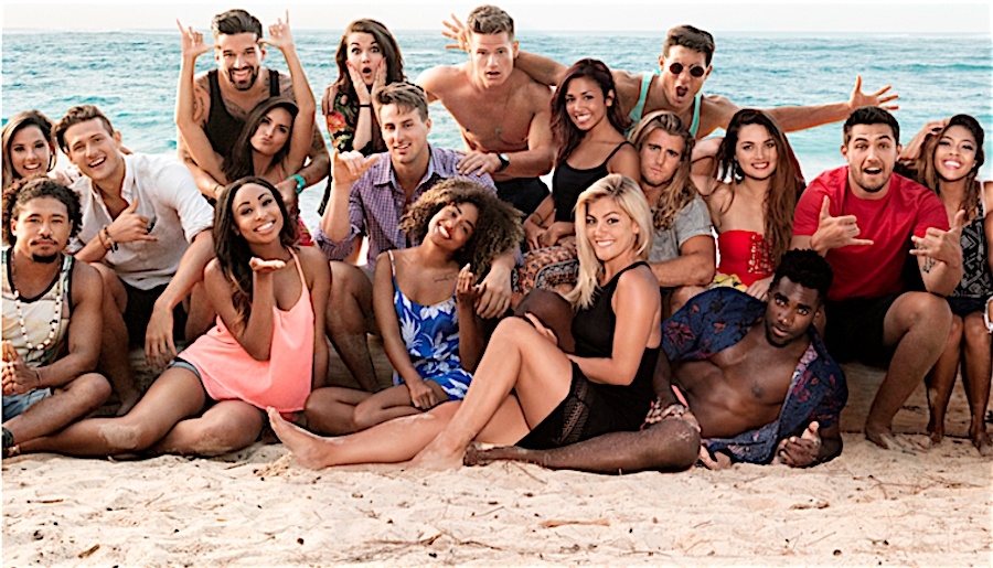 The cast of Are you the One? poses on the beach