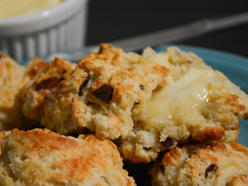 bacon cheddar biscuits with honey butter 2