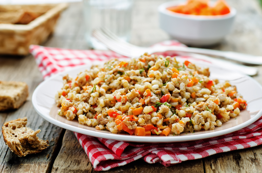 healthy barley with vegetables