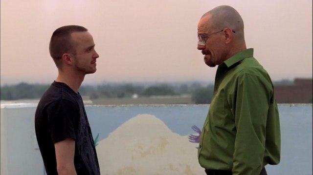 Jesse Pinkman (Aaron Paul) and Walter White (Bryan Cranston) in 'Breaking Bad'
