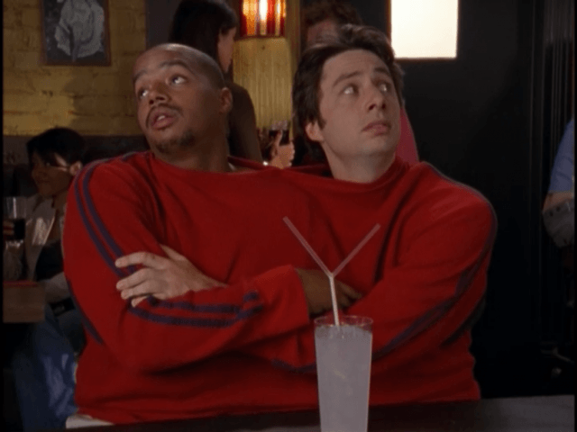 Turk (Donald Faison) and J.D. (Zach Braff) in 'Scrubs'