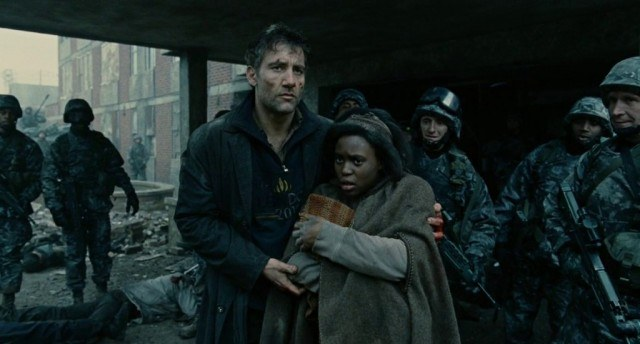 Clive Owen and Claire-Hope Ashitey in 'Children of Men'