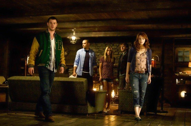 Chris Hemsworth, Jesse Williams, Anna Hutchison, Franz Kranz and Kristin Connelly in 'The Cabin in the Woods.'