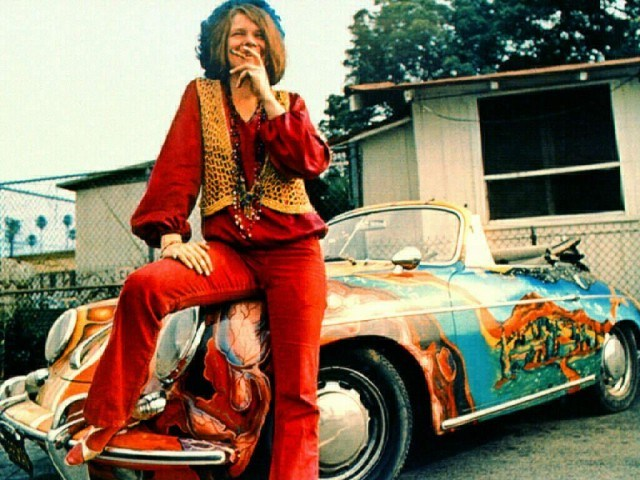 Janis Joplin and her Porsche