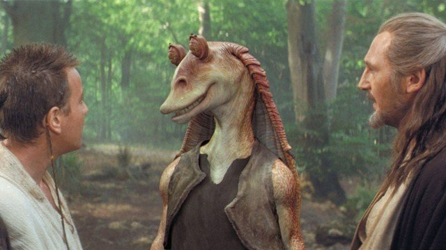 Jar Jar Binks in the forest.