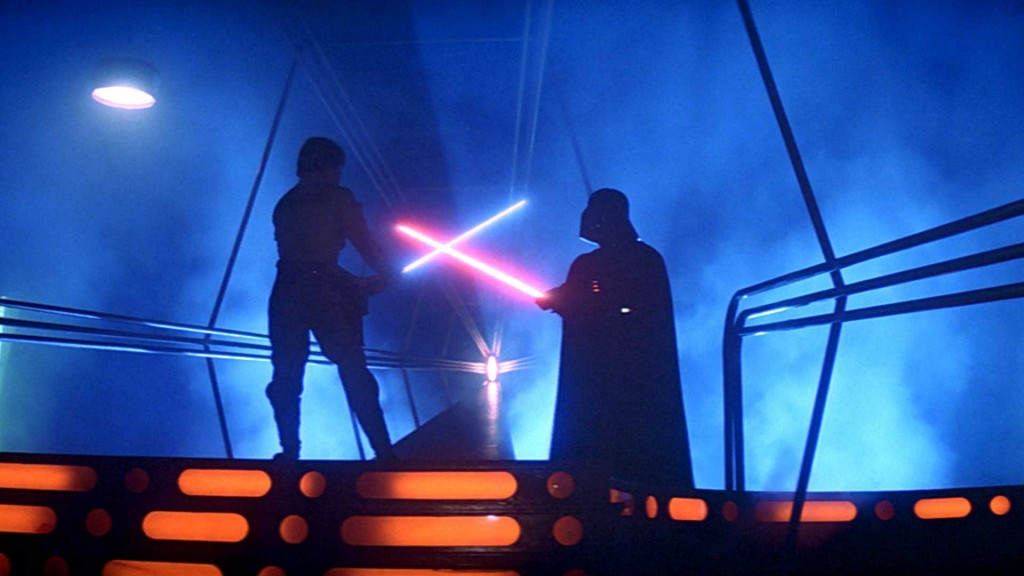 Vader and Luke clash sabers in The Empire Strikes Back